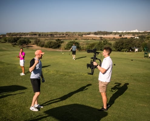 Shooting video on the golf course